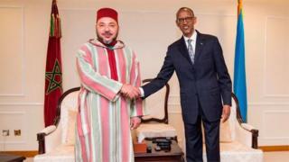 Umwami wa Maroc Mouhamed VI na prezida w'u Rwanda Paul Kagame