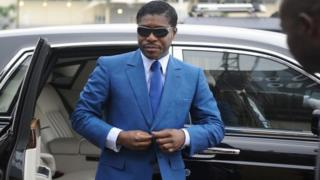 File photo taken on 24 June 2013 shows Teodoro (aka Teodorin) Nguema Obiang, son of Equatorial Guinea president, arriving at Malabo stadium