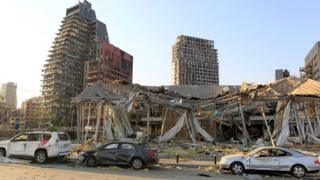 Ruined buildings in downtown Beirut on 5 August 2020