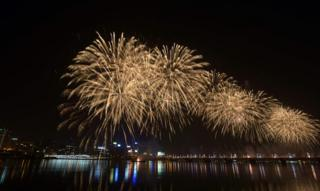 New Year's fireworks in Abidjan
