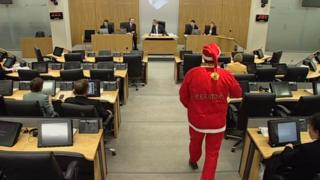 'Santa' enters the assembly chamber in 2002