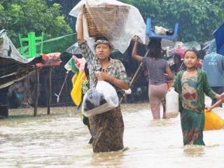 မင်းပြားမြို့ပေါ်က ရေကြီးမှု အခြေအနေ မြင်ကွင်း