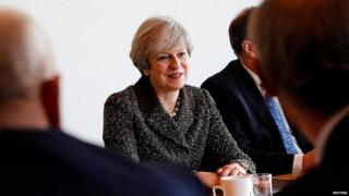 Theresa May at a business event in Birmingham