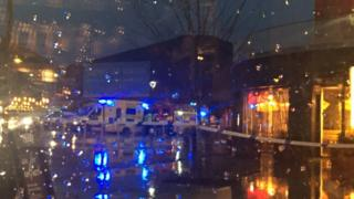 Emergency services outside Friars Walk in Newport