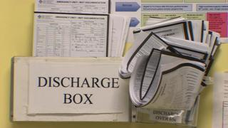 Discharge notes box at Cardiff's University Hospital of Wales