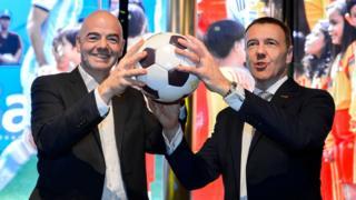 церемония открытия музея ФИФА в Цюрихе: Джанни Инфантино с директором музея