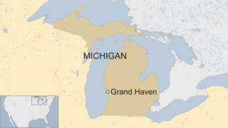 A map showing the location of Grand Haven, Michigan in the US