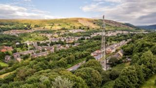A phone mast stands tall in a small Welsh town of Blaina