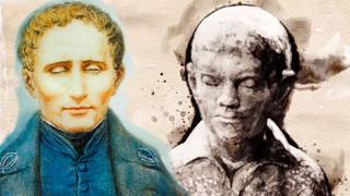 Louis Braille niño y adulto.