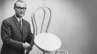 Ingvar Kamprad pictured with an Ikea chair in the 1960s