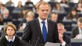 Donald Tusk speaking in the European Parliament