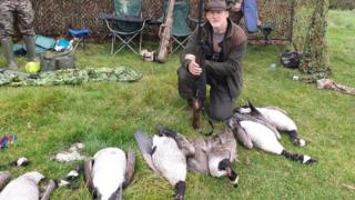Barry Swain with some of the shot geese
