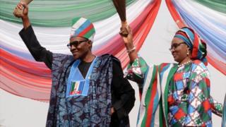 Muhammadu Buhari and im wife Aisha