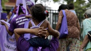 Demonstrators on International Day for the Elimination of Violence Against Women in Asuncion, 25 November