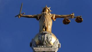 "Pomeroy""s Statue of Lady Justice atop the Central Criminal Court buildng at the Old Bailey"