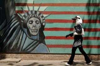 A mural painted on the outer wall of the former US embassy in Tehran, Iran