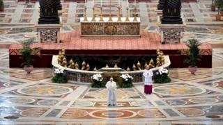 Pope Francis, the leader of the Roman Catholic Church, delivers his Urbi et Orbi (to the city and the world) message behind closed doors amid lockdown measures imposed in Italy, 12 April 2020