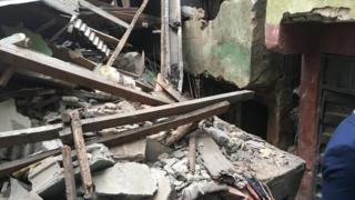 Di building partially collapse for Lagos Island