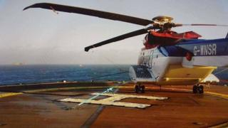 CHC helicopter on offshore platform