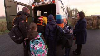 A track vehicle was used to transport schoolchildren in Longford