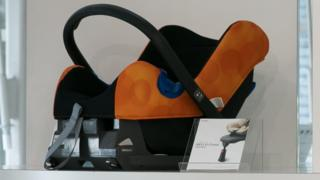 A child safety seat on display at a car showroom in Tokyo, Japan (file photo)