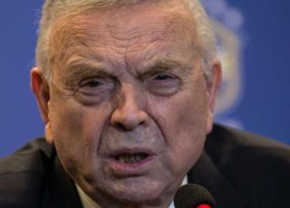 Picture taken on August 19, 2014 in Rio shows the president of the Brazilian Football Confederation, Jose Maria Marin, giving a news conference