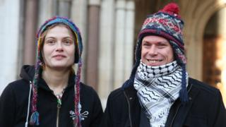 Sylvia Mann and Lauri Love outside the High Court in London
