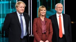 Boris Johnson, Julie Etchingham and Jeremy Corbyn
