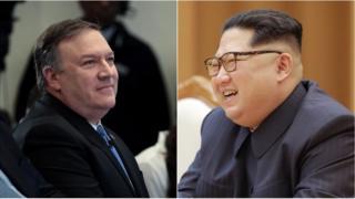 마이크 폼페오 CIA국장과 김정은 노동당 위원장