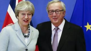 Theresa May a Jean-Claude Juncker