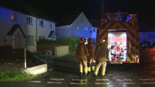 fire crews at a house fire in Saron, near Caernarfon