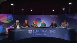 Left to right - Piers Wauchope, UKIP, Kelly-Marie Blundell, Lib Dems, Peter Chowney, Labour, Natalie Graham, BBC presenter, Damian Collins, Conservative, Caroline Lucas, Green Party
