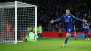Jamie Vardy celebrates scoring his sides third goal during the Premier League match at the King Power Stadium, Leicester