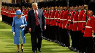 The Queen and President Trump inspect troops during his 2018 visit