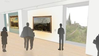 Artist's impression of the new gallery with views over the city