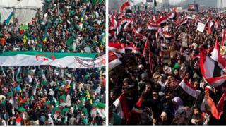 صورة لمظاهرة في مصر وأخري في الجزائر