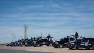 Federal police cars line up near Samalayuca, near Ciudad Juárez