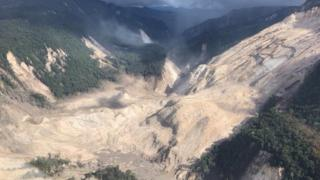 Areas affected by landslides are seen after a powerful 7.5 magnitude earthquake, in Hela, Papua New Guinea