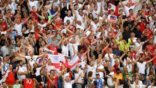 England fans show their support during the 2018 FIFA World Cup Russia Quarter Final match between Sweden and England at Samara Arena on July 7, 2018 in Samara, Russia