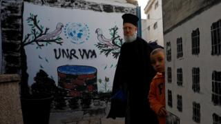 Palestinians stand near a mural showing the logo of United Nations Relief and Works Agency (Unrwa) in Jalazone refugee camp, near the West Bank city of Ramallah (3 January 2018)