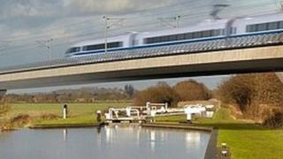 Artist's concept of an HS2 train