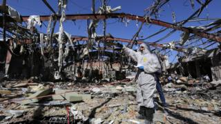 Aftermath of alleged Saudi-led airstrikes on funeral