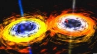 Imagen recreando la colisión de dos estrellas o agujeros negros.