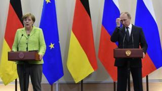 Владимир Путин и Ангела Меркель
