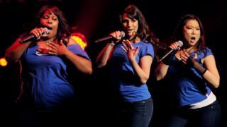 Amber Riley, Lea Michele and Jenna Ushkowitz of Fox TV's Glee