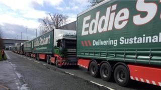 Eddie Stobart lorries backed up in south Warrington