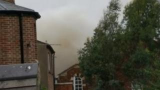 Smoke billowing from the Clarendon Institute in Oxford city centre shortly before 14:00