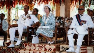 The Queen and the Duke in the Vaiaku maneapa (meeting house) of Funfuti in Tuvalu in 1982 during the Royal Tour of the South Pacific.