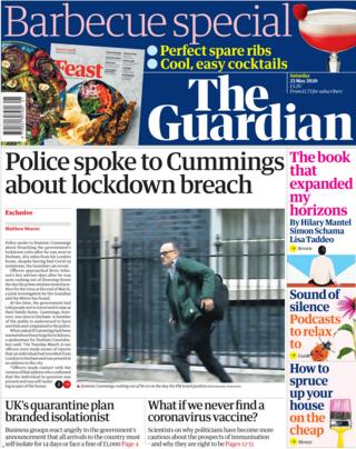 Guardian front page 23 May