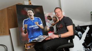 Jody Craddock with his painting of John Terry
